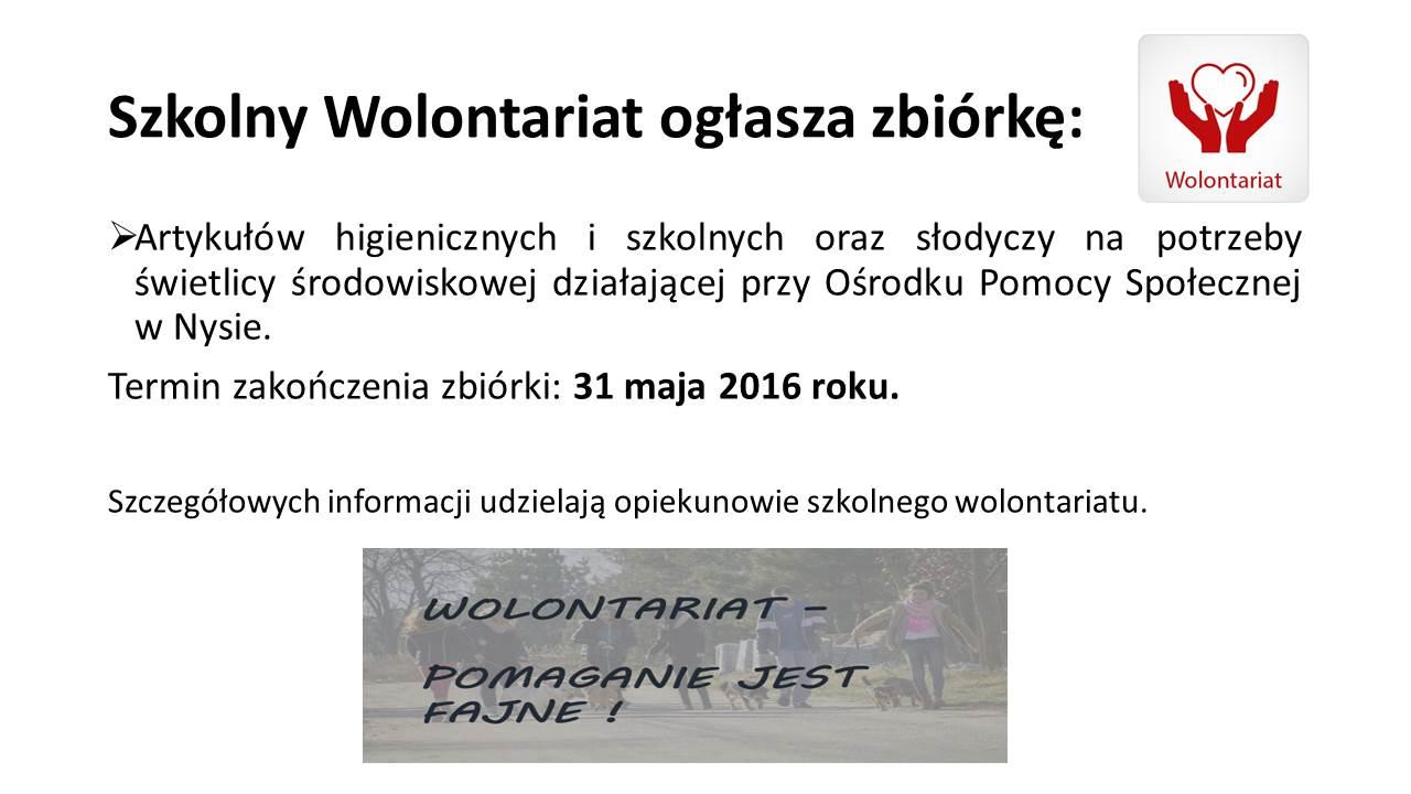 Szkolny Wolontariat ogłasza zbiórkę