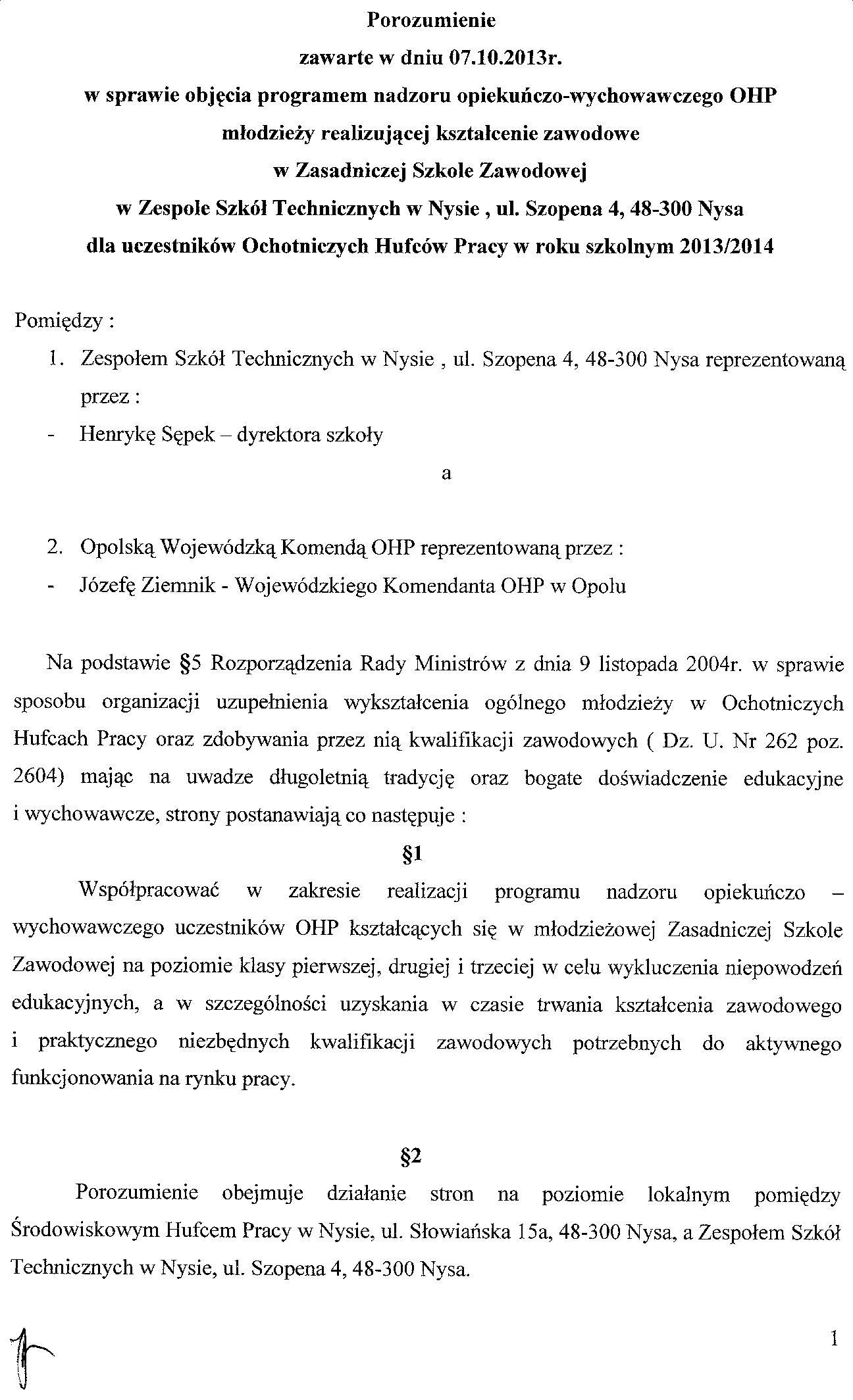 ŚHP - umowa